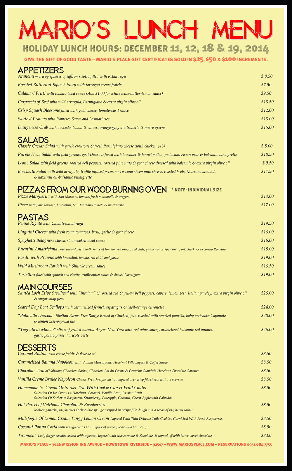Lunch Menu Mario's Place 2014.jpg