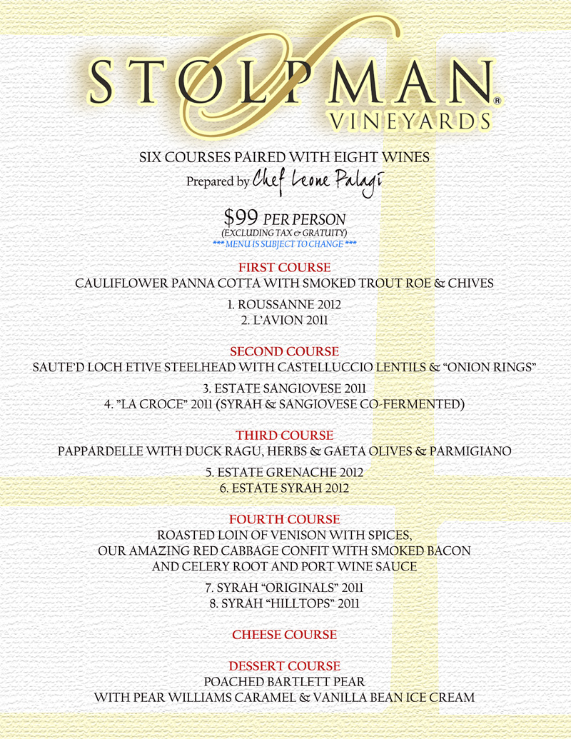 Stolpman wine dinner mario 39 s place for Table 52 wine list