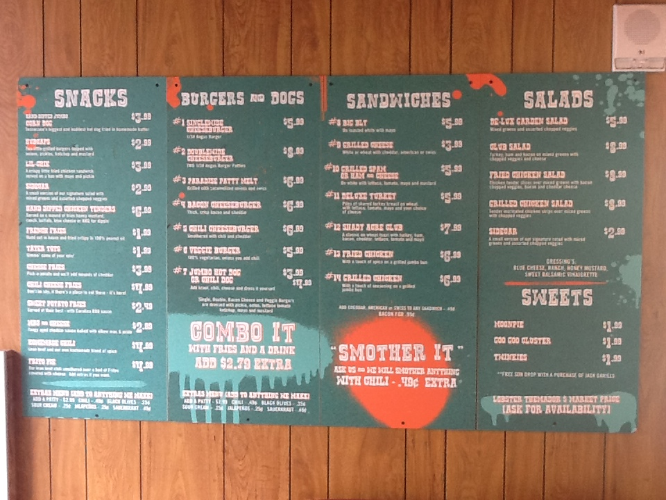 Paradise Park Menu Boards