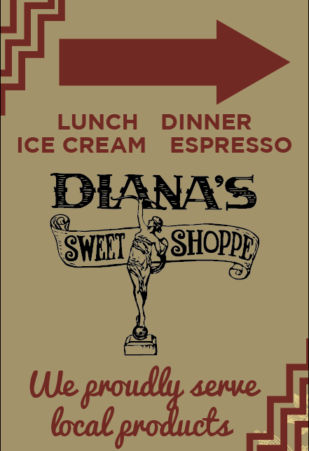 Diana's Sweet Shoppe Sidewalk Sign