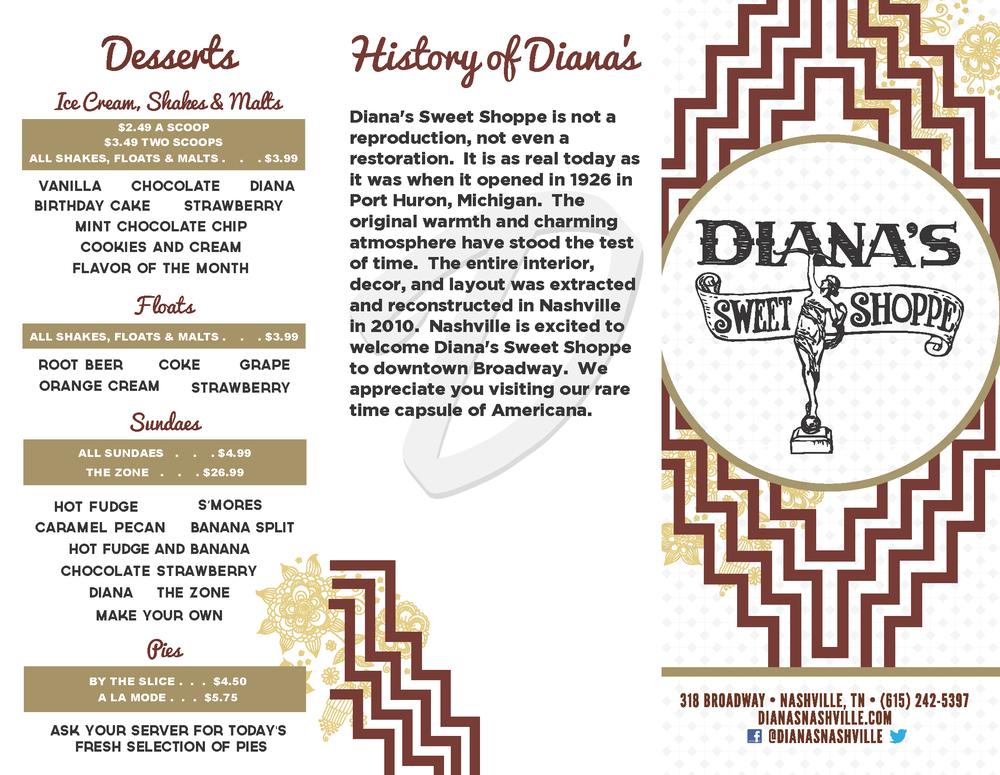 Diana's Sweet Shoppe Tri-Fold Menu