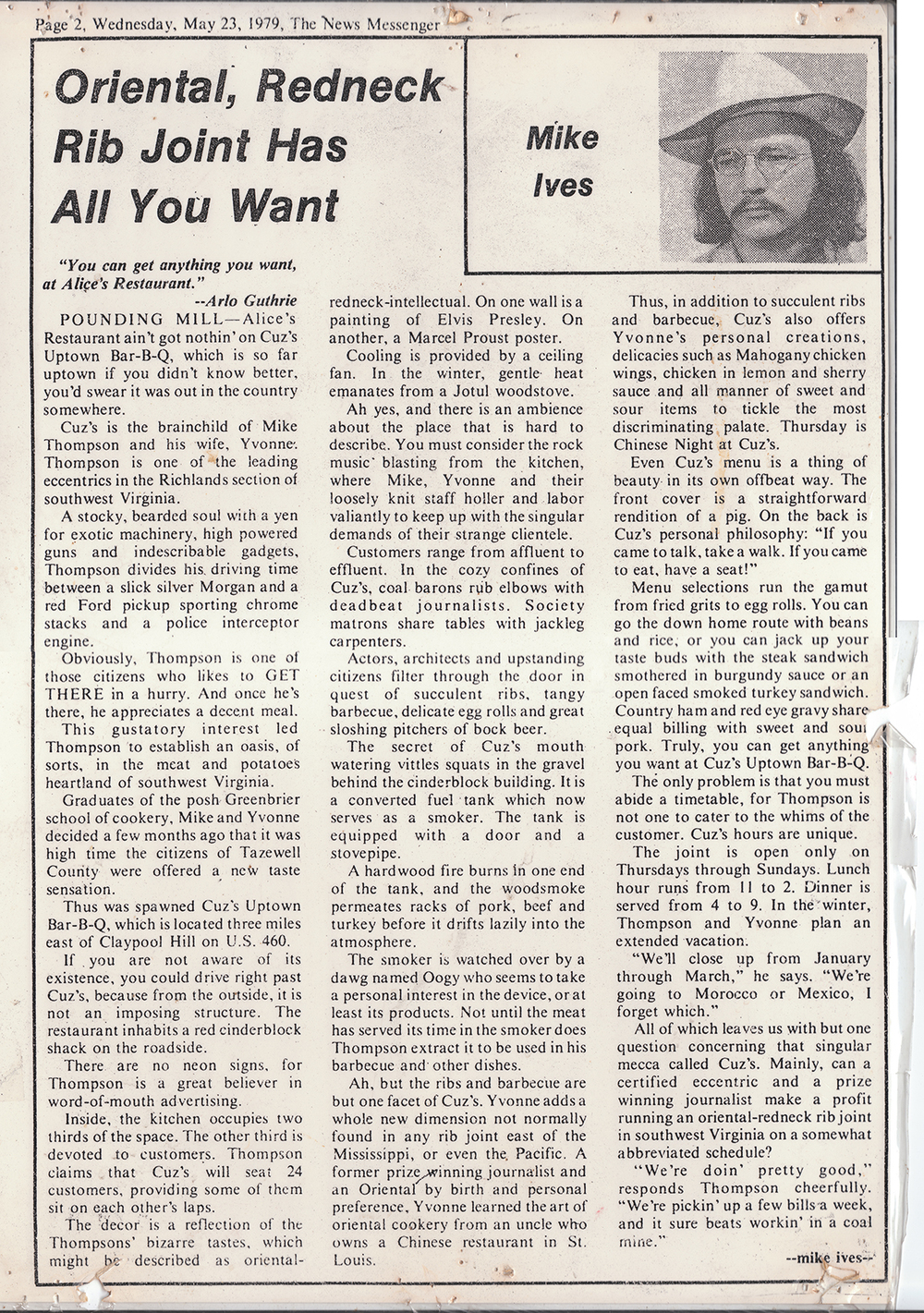 Cuz's Clips - The News Messenger - 1979