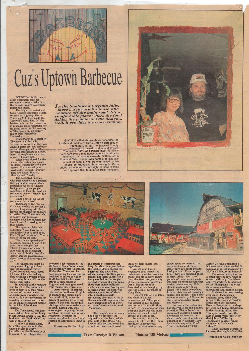 Cuz's Clips - Bristol Herald Courier - 1992
