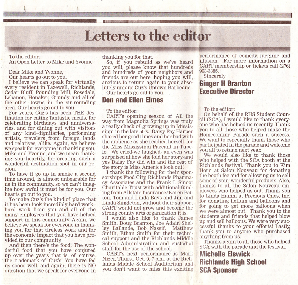 Cuz's Clips - Letter from the Elmes Family in the Richlands News Press - 2000