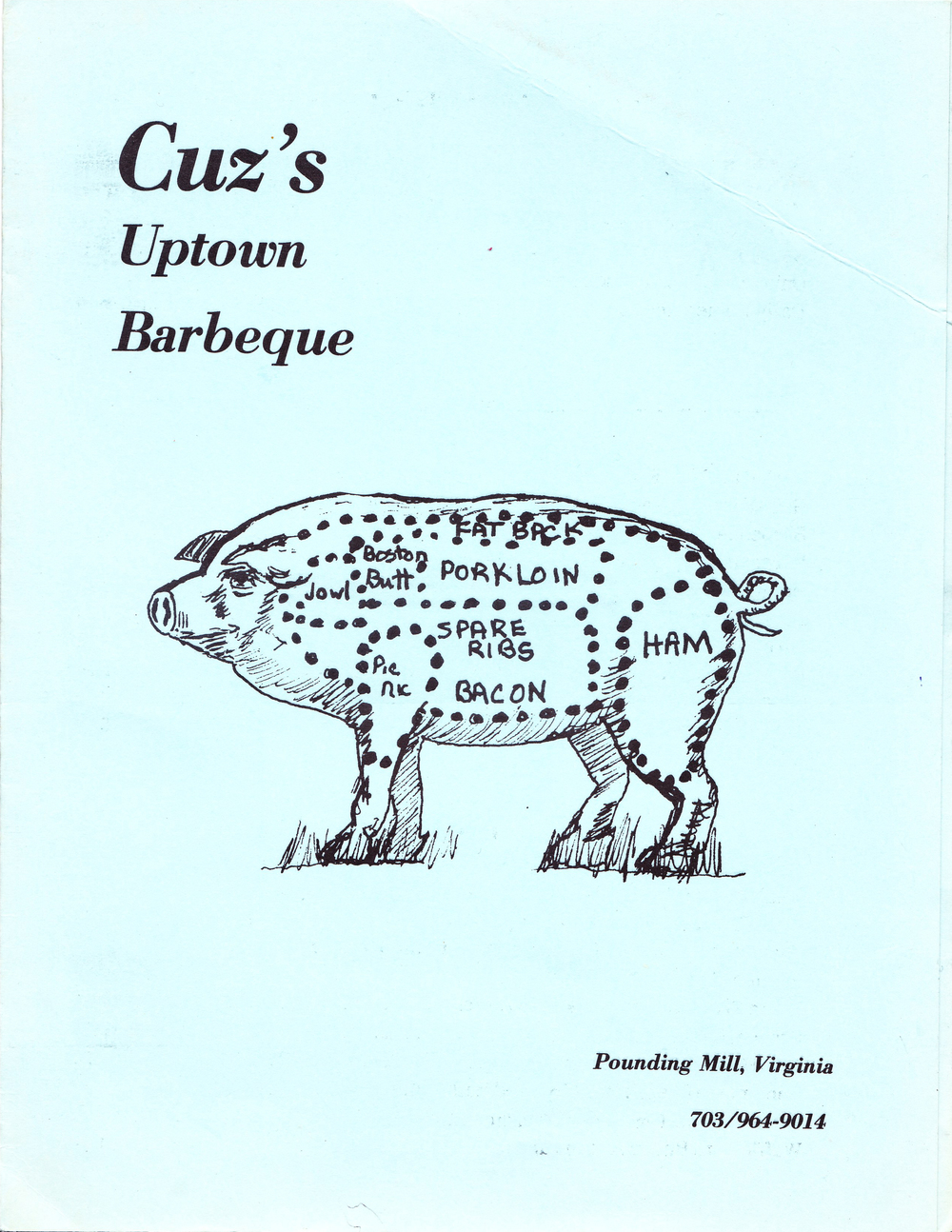 The original Cuz's menu from 1979.