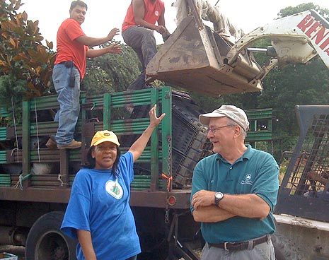 Michael & Evelyn load up the truck with plants for the new Lindsay Ashe Garden