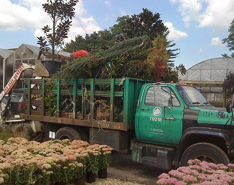 The truck full of plants from Bissett nursery donated by the family and friends of Lindsay Ashe