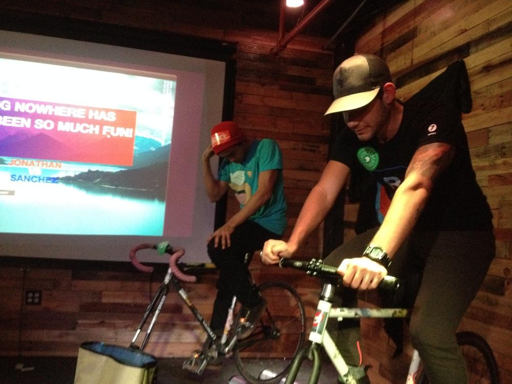 Sanchez (left) vs. Jonathan of CrankShift (right)  Gold Sprints Men's Final at t he  Bikestock  1st Anniversary Party