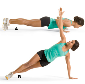 PUSH-UP TO SIDE-PLANK  Activate the obliques as you twist into side plank. Try x3 on each side.
