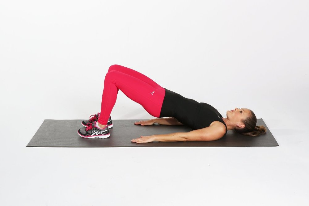 Bridge:   Tuck the pelvis under lift your hips - look for a straight line between knees, hip and shoulders.  Breathe and relax the shoulders.  Hold for 1 minute x 3 sets.