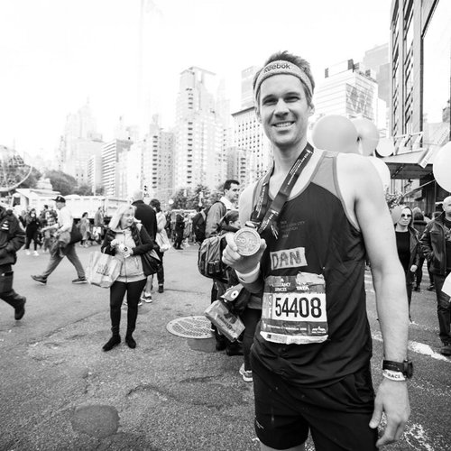Dan after the 2015 NYC marathon in Central Park