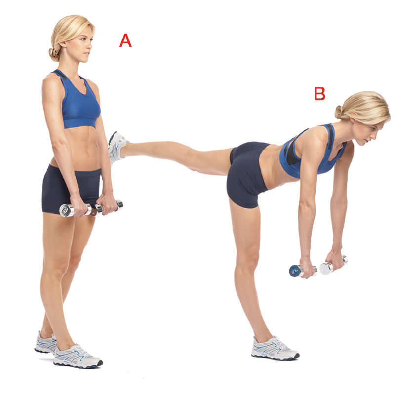 Hold a dumbbell in each hand and stand on your right leg, lifting your left leg a few inches behind you (a). Keeping your back straight, lean forward from your hips until your body is almost parallel to the floor, the weights in line with your shoulders (b). Return to start.  Do 12, then switch legs.