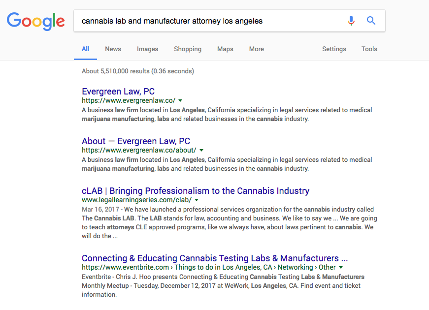 """#1 ranking for """"labs and manufacturer attorney Los Angeles"""""""
