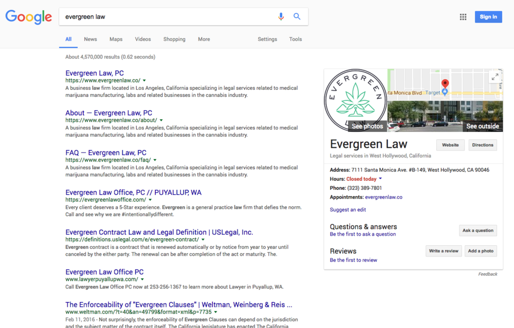 """#1 ranking for """"Evergreen Law"""""""