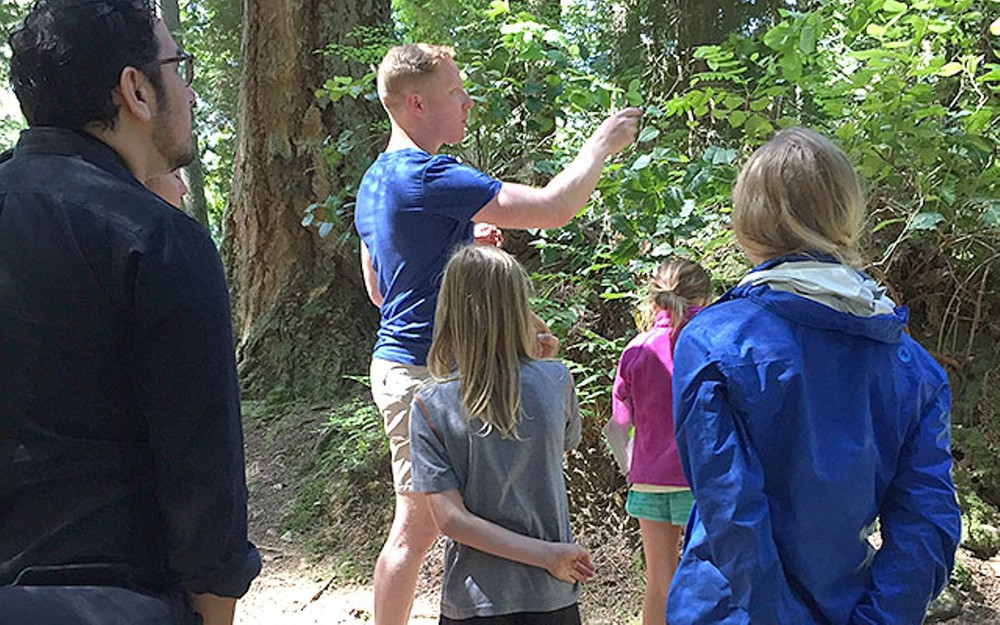 WILD CHEF Bryce Watts, founder of the Forager Foundation, talks about the medicinal properties of salal leaves on a recent food foraging tour.