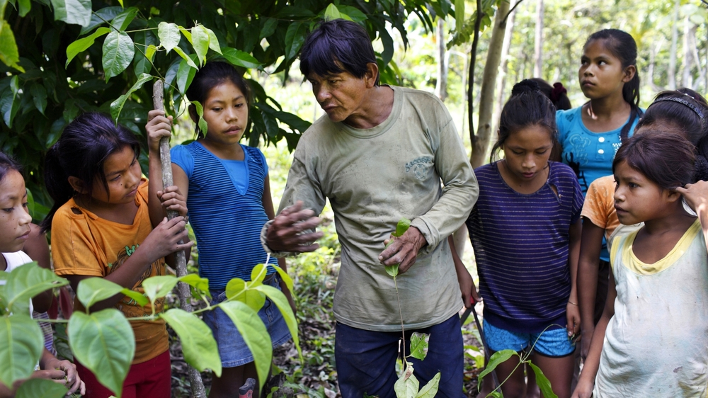 """Shipibo elder explains to local students at the intercultural school about the traditional spiritual and medicinal uses for ayahuasca known locally as """"oni"""", meaning 'knowledge' (Photo Alianza Arkana)"""