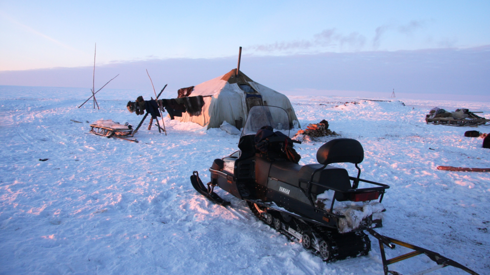 Reindeer camps of the Chukchi are a mix of modern and traditional - the nomadic life goes on, but snowmobiles are used in transit from Soviet-established towns into the camps (Photo Tero Mustonen)