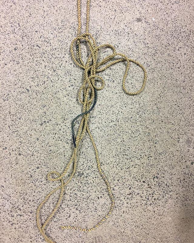 Handmade silk rope | indigo #mfa #instalation view. #whitecliffe #artist #artistmom #rope #zerowaste