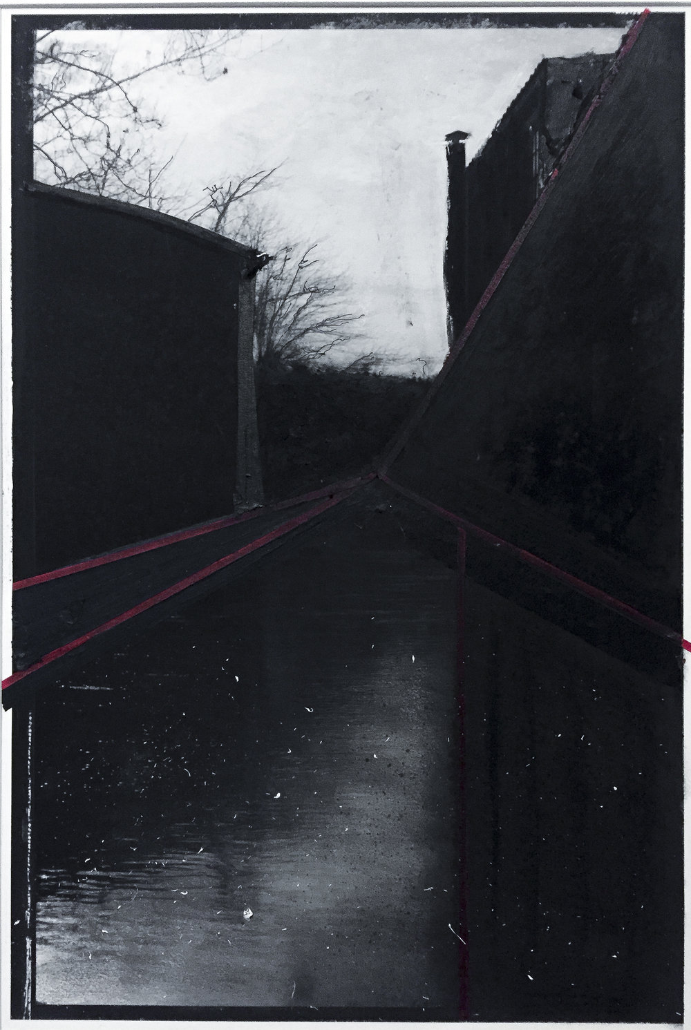 untitled #3 (raceway) charcoal, graphite, and masking tape over pigment print (14x11)