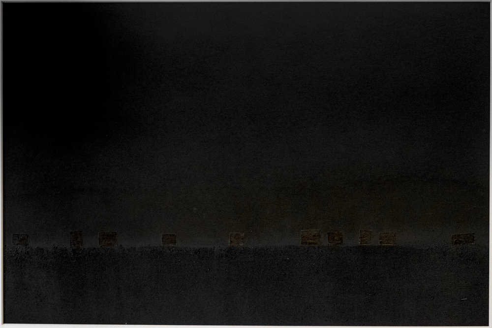 chautauqua lake at night; charcoal, graphite, and masking tape over pigment print (11x14)