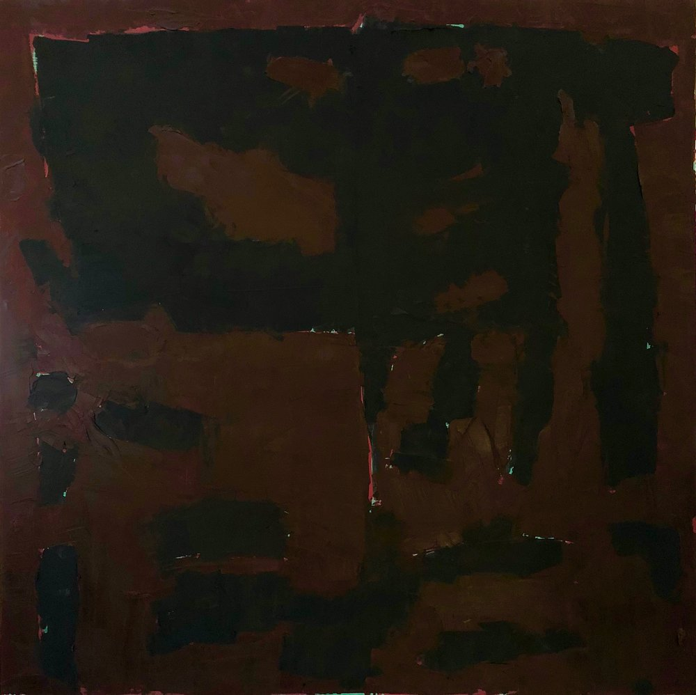 brown and black; acrylic and oil/cold wax medium on cradled birch panel (48x48)