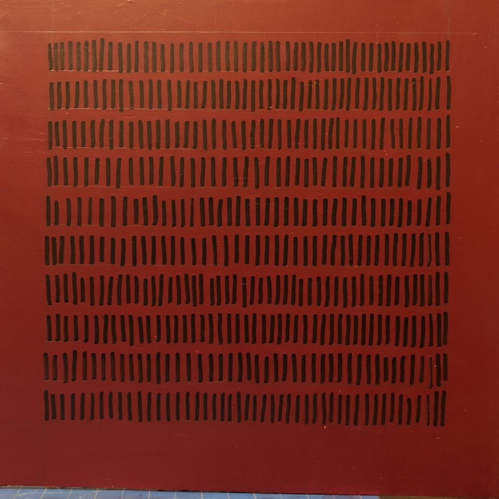 452 black lines on a red field