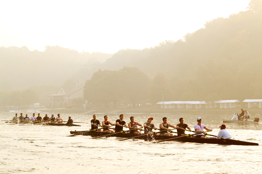 Temple men's crew practices on the Schuylkill River.