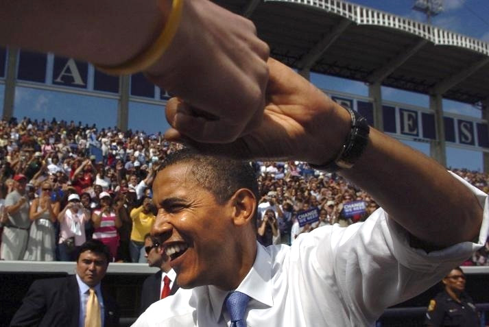 Barack Obama campaigns in the New York Yankees Legends Field in Tampa, Florida during a final push through the state whose win helped secure the 2008 Presidential election.