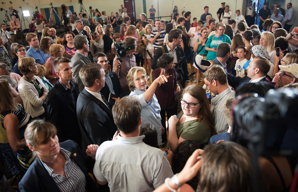 Hillary Clinton works the crowd following a campaign event in Portland, Maine. Bernie Sanders attracted thousands in the city earlier in the month and is drawing large crowds in neighboring New Hampshire.