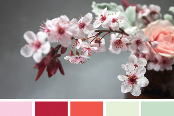 This is exactly what spring feels like. Cherry blossom floral arrangement tutorial and color palette for spring on Showerbelle!