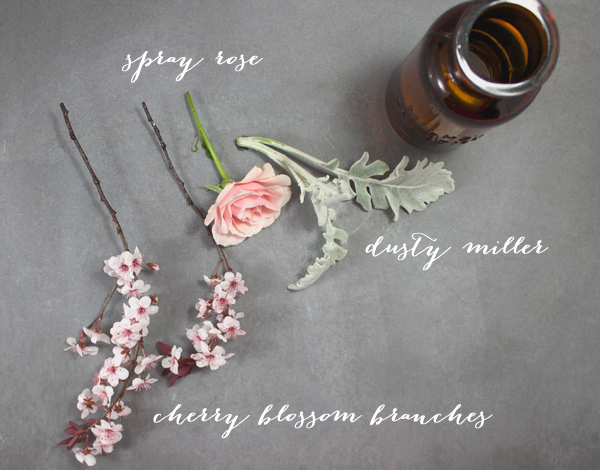 An insanely easy cherry blossom floral arrangement tutorial on Showerbelle