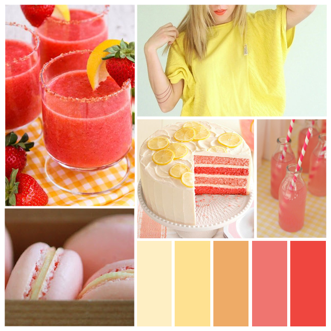 pink lemonade stand color palette and other pretty party palettes on Showerbelle