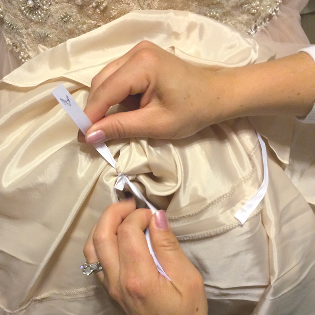 Bridesmaids,  do you know how to bustle a wedding gown? read this super easy Amercian & French Bustling Tutorial