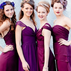 purple bridesmaid dresses and a wine themed color palette on Showerbelle