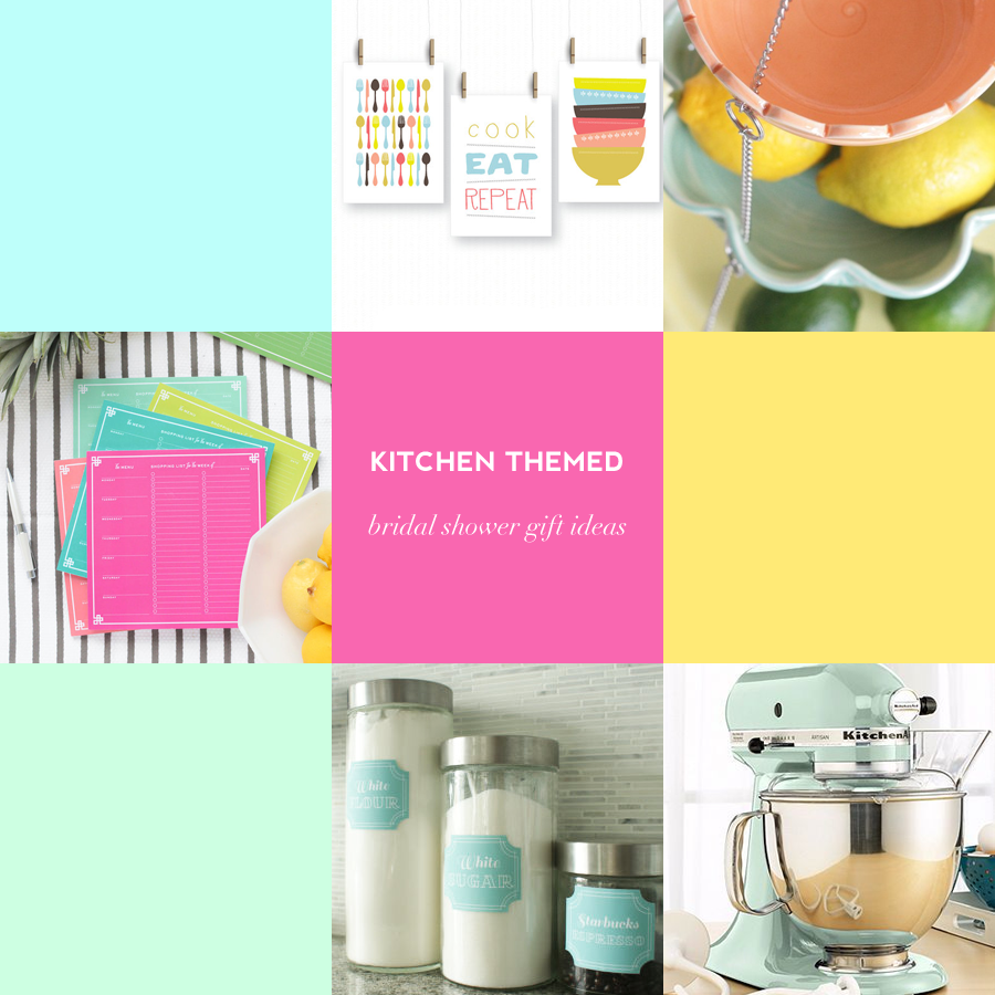 These kitchen themed bridal shower gift ideas in pretty pastels will ...