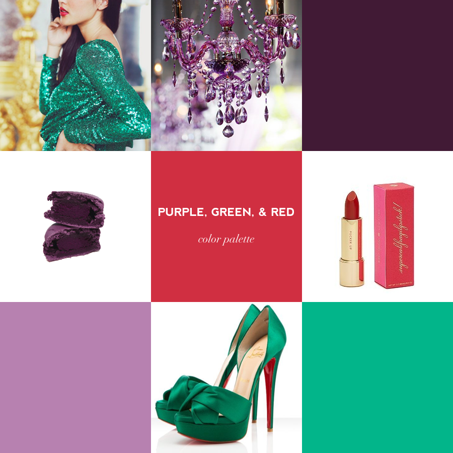 a glam purple, green, and red color palette