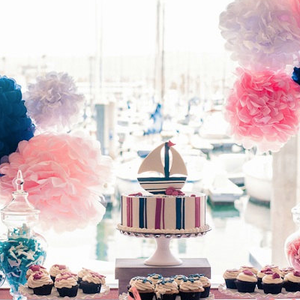 Pink and navy beach themed bridal shower event 29 beach themed bridal shower decorations junglespirit Image collections