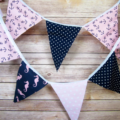 Navy and pink beach bridal shower decorations