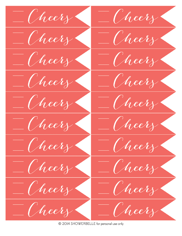 "Download these free printable ""Cheers"" straw flags!"