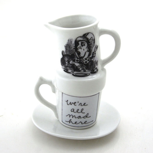 Mad hatter mug and other Alice in Wonderland bridal shower ideas.