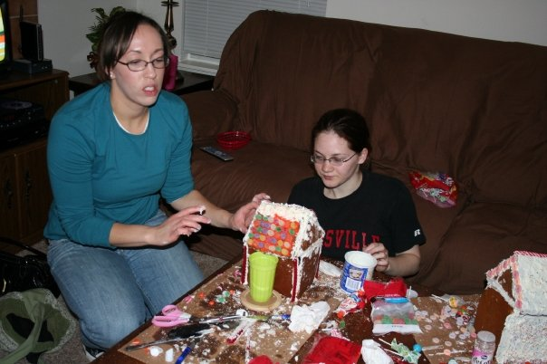 That's me on the left being done with gingerbread houses.
