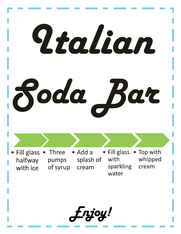 This is a preview of our retro soda fountain inspired Italian soda bar instructions. Click on the image to begin downloading the printable version now!
