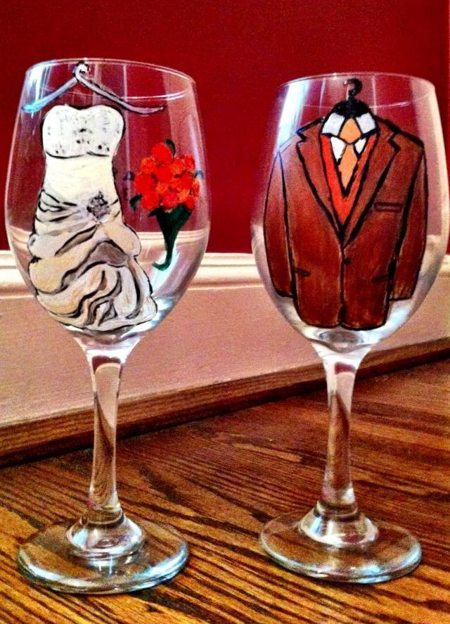 how to host a wine glass painting bridal shower on Showerbelle