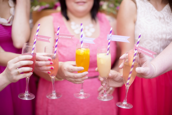 A gorgeous mimosa bar bridal shower on Showerbelle.