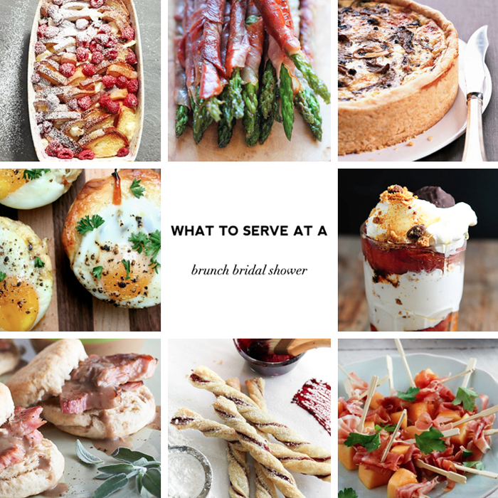 What to serve at a brunch bridal shower - sample menus with recipes on Showerbelle.