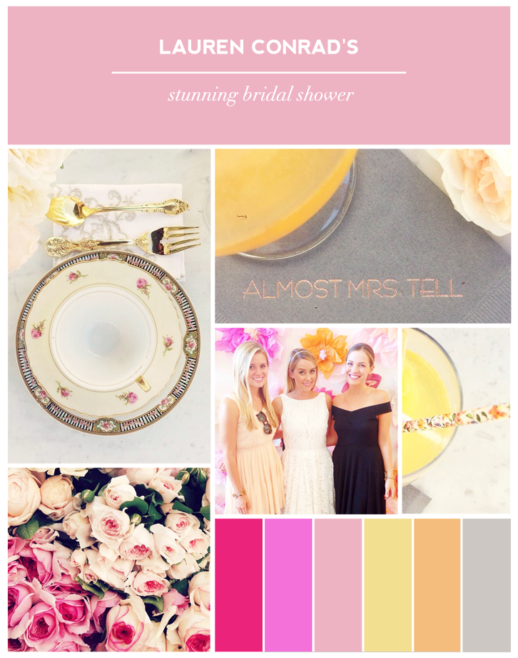 View pictures of Lauren Conrad's stunning bridal shower on Showerbelle.   Photo Credits:   Table Setting, Roses, Cocktail Napkin Photos by  Lauren Conrad  via Instagram | Group Photo by  Allison Norton  via Instagram  Cocktail Photo by  Alex Andrè  via Instagram