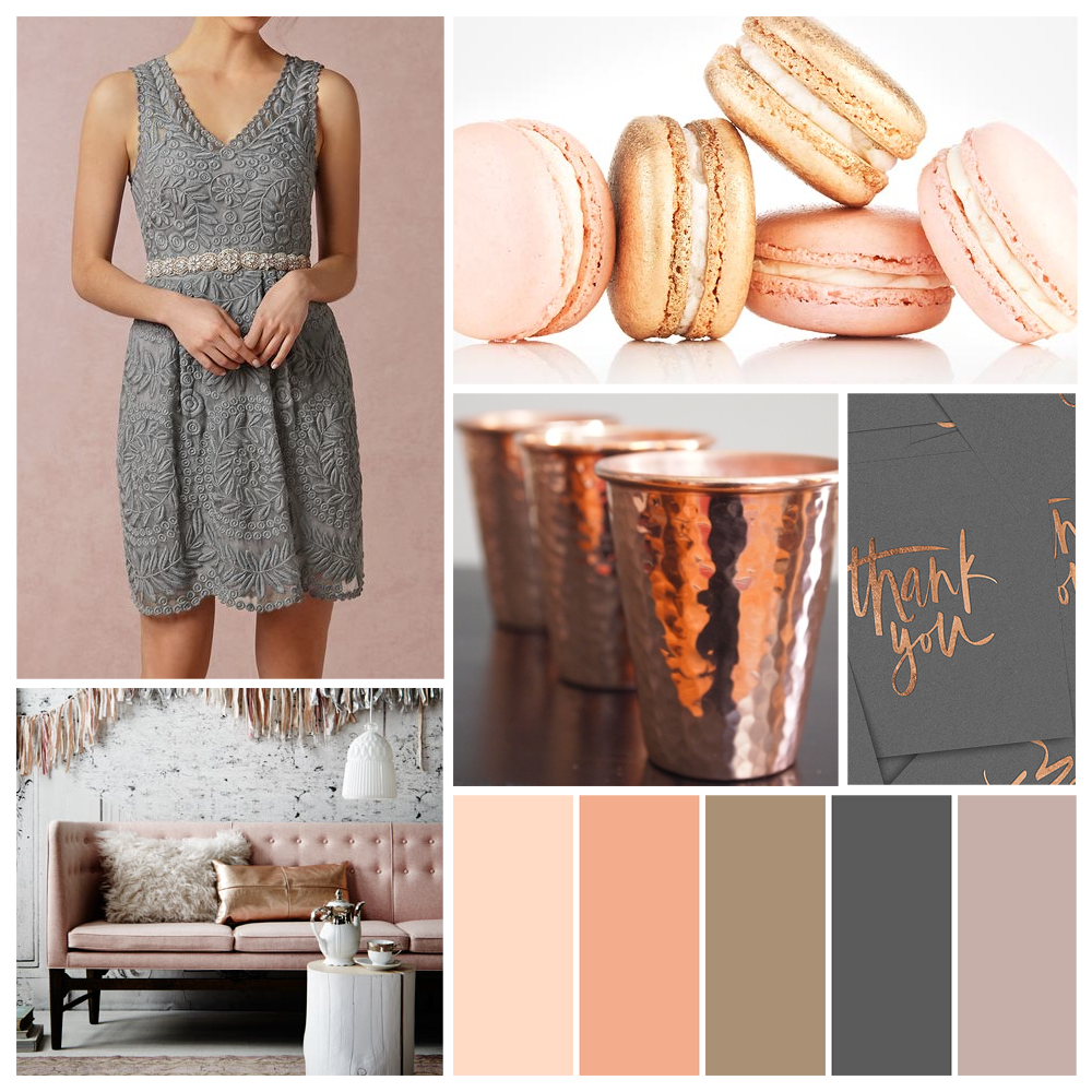 A luxurious palette of copper and aluminum grey for fall. Click to view more inspiring wedding and bridal shower palettes on Showerbelle.