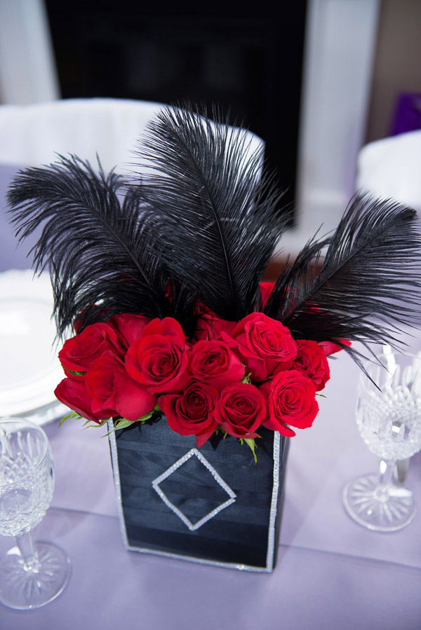 Red and black bridal shower centerpieces