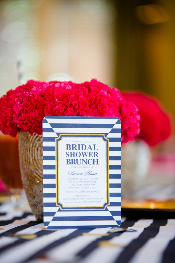 Check out this bold & preppy Kate Spade bridal shower brunch you can recreate at home. #katespade #bridal #shower
