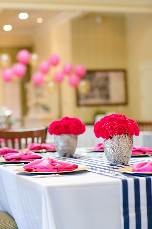 Check out this bold & preppy Kate Spade bridal shower brunch you can recreate at home. #katespade #bridalshower